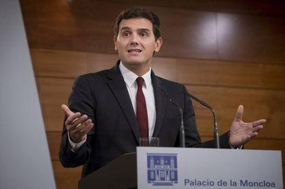 Ciudadanos leader Albert Rivera after his meeting with Mariano Rajoy on Monday.