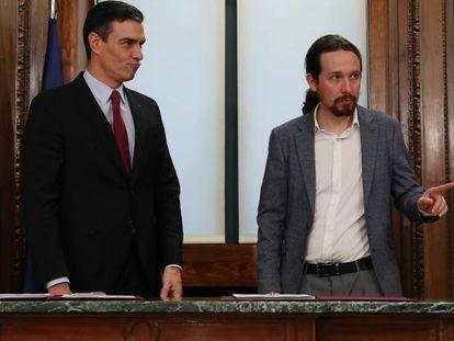 Caretaker Prime Minister Pedro Sánchez and Unidas Podemos leader Pablo Iglesias.