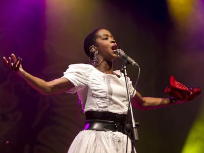 Lauryn Hill performing at Rototom on Sunday.