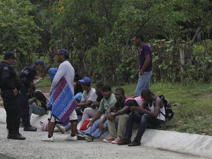 Migrants detained in the southern Mexican state of Chiapas.