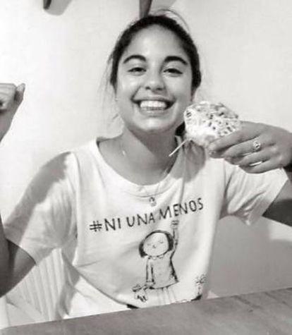 Micaela García wearing an anti-femicide tee-shirt.