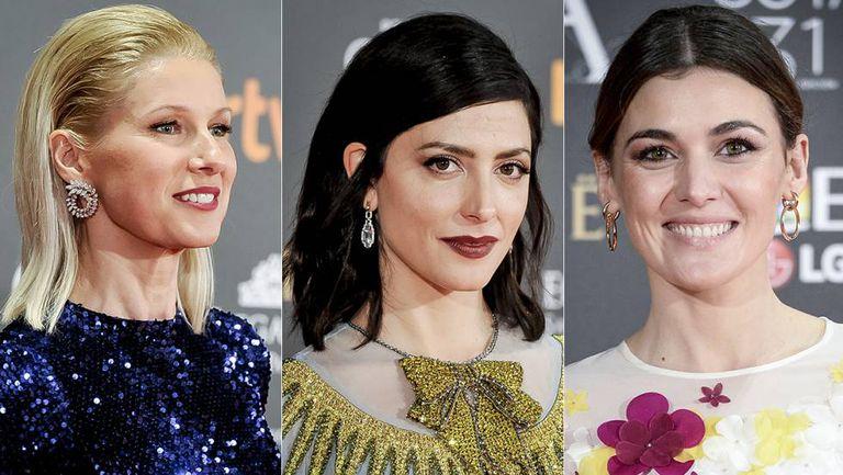 Anne Igartiburu, Bárbara Lennie and Marta Nieto wearing Suárez jewelry at the Goya Awards.