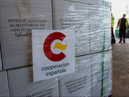 A shipment of Spanish humanitarian aid destined for Nepal.