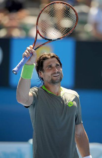 David Ferrer of Spain celebrates after his first round-match against Alejandro González of Colombia.