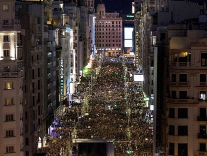 International Women's Day march in Madrid.
