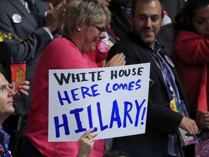 Hillary Clinton supporters at the Democratic Party convention.