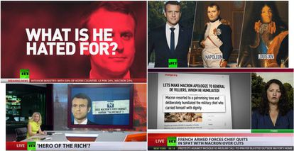 """RT has labeled French President Emmanuel Macron """"a hero of the rich"""" and has compared him to Napoleon."""