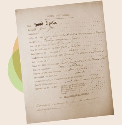 Document of José Epita's arrest in 1944. FAMILY ARCHIVE