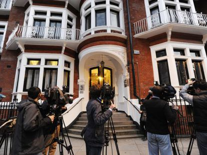 Reporters have been camped outside the Ecuadorian Embassy in London since Tuesday night.