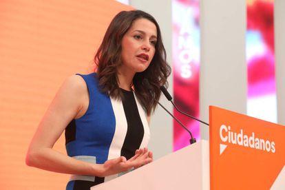 Inés Arrimadas of Ciudadanos gives a news conference on Monday.