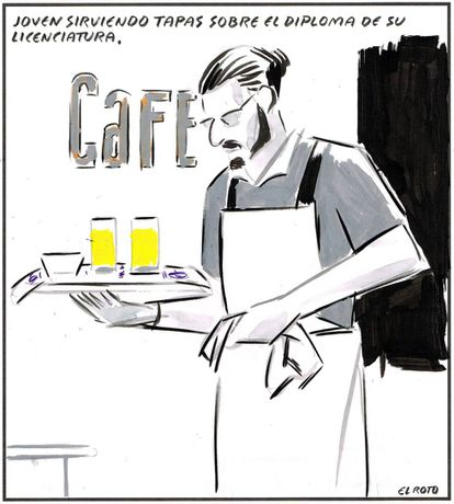 """""""A young man serving tapas on his bachelor's degree diploma."""""""