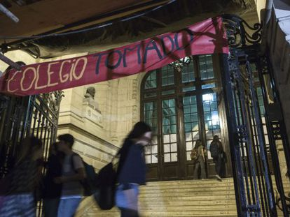 """A banner put up at the National School of Buenos Aires during last week's protest reads """"School Occupied."""""""