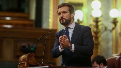 Popular Party leader Pablo Casado addressing Congress on Thursday.