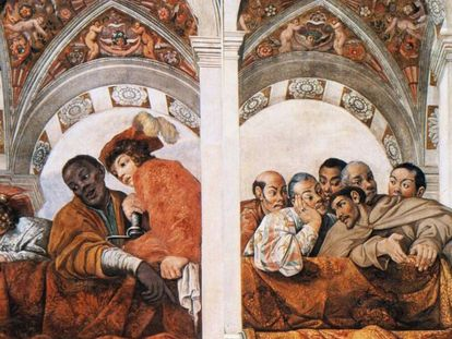 A fresco inside Quirinal Palace in Rome showing the Congolese and Japanese embassies in 1616-1617.