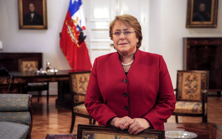 Chilean president Michelle Bachelet at La Moneda palace on June 23.