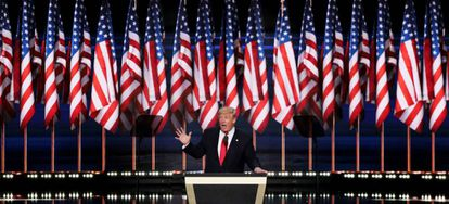 Donald Trump addresses the Cleveland convention on Thursday.