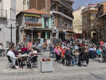 A sidewalk café in Madrid on April 1.