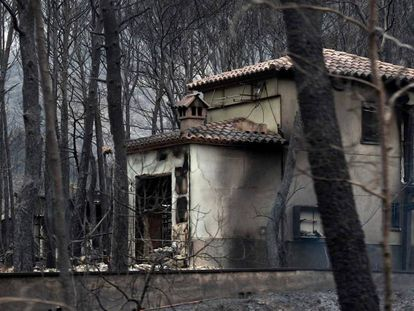 A house burnt in the fires in Monte Pinar.