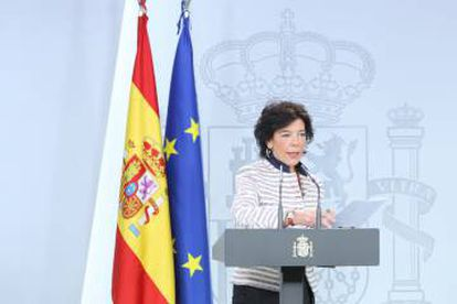 Government spokeswoman Isabel Celaá addressing the media on Tuesday.