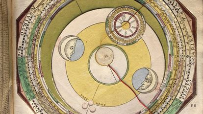 Mobile circle composition to establish the relative position of the stars, from the book 'Astronomicum Caesareum' (1540).