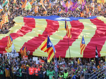 Protesters in Madrid carry a large estelada flag in the march against the trial of the separatist leaders.