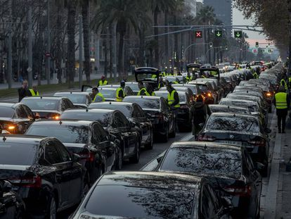 VTC vehicles block a street in Barcelona on January 19.