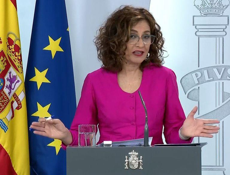 Government spokesperson María Jesús Montero during Tuesday's press conference.
