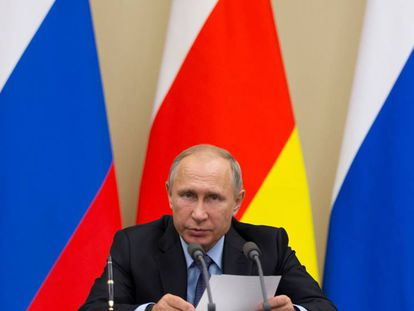 Russian President Vladimir Putin, during a press conference in Moscow on November 14.