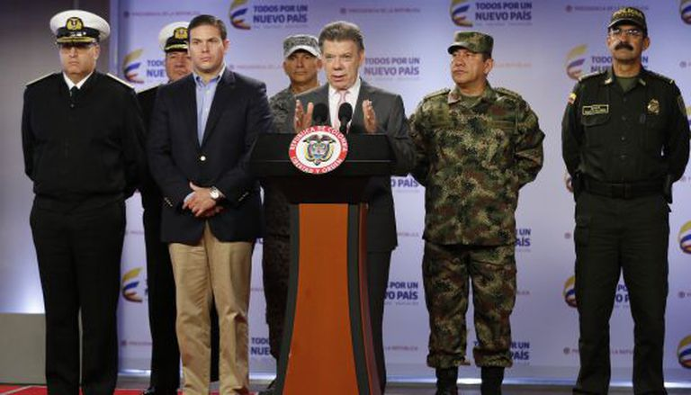 President Juan Manuel Santos announces the killing of a group of rebels.