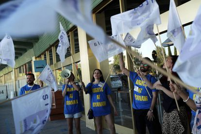 Ryanair workers protesting at Barajas airport in July.