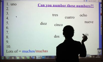 A Spanish class in Winterbourne, England.