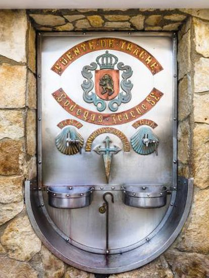 The Irache winery offers water and wine at a fountain near Ayegui, Navarre.