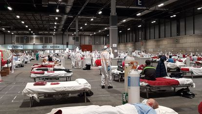 The IFEMA conference center in Madrid that has been turned into a temporary hospital.