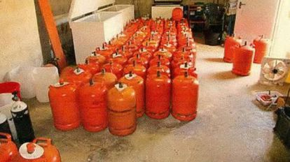 Gas canisters stored at the house in Alcanar.