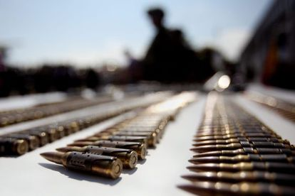 A photograph taken on August 19 showing military equipment seized after an army operation against the FARC in Cauca.