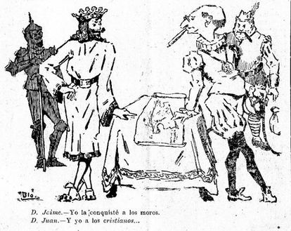 """A 1918 cartoon showing March and James I of Aragon, conqueror of Mallorca. """"I conquered the Moors,"""" says James I. """"And I the Christians,"""" says March."""