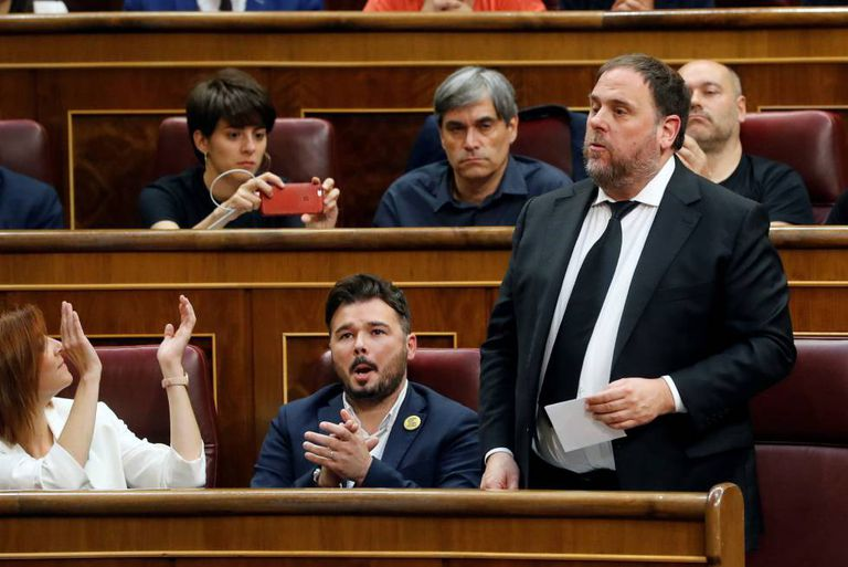 Oriol Junqueras is sworn in as a deputy today in Congress.