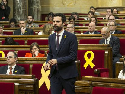 Roger Torrent at the Catalan parliament on Wednesday.