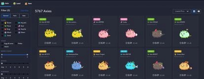 Axies, the basis of the crypto game Axie Infinity, are bought and sold and converted into cryptocurrency.