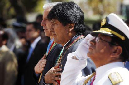 Evo Morales, seen on Sunday at a ceremony in La Paz, Bolivia.
