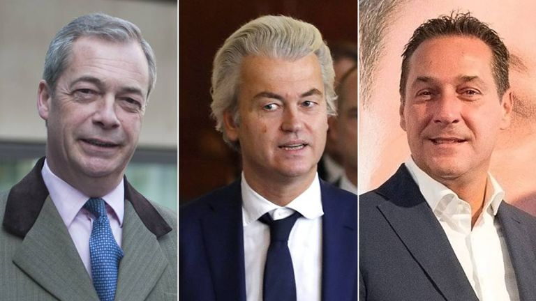 Left to right: Nigel Farage, Geert Wilders and Heinz-Christian Strache.