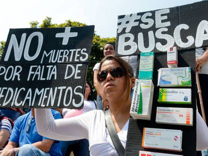 Protests in Caracas against drugs shortages in March.