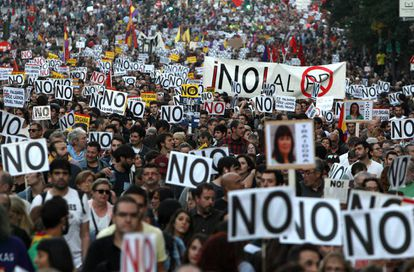 Thousands of people protested the new government outside Congress on Saturday.