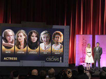 Emma Stone and 2013 Oscar host Seth MacFarlane present the 85th Academy Awards nominations.