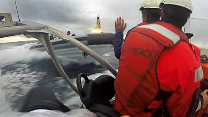 The moment the Greenpeace activists' boat was rammed by the Spanish navy vessels.