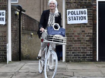 A voter leaves a polling station in London on Thursday.