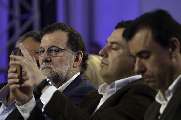 Acting Spanish PM Mariano Rajoy during a party rally this weekend.