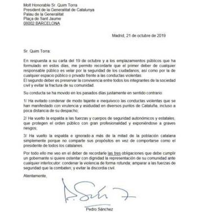 The letter that Pedro Sánchez sent to Quim Torra.