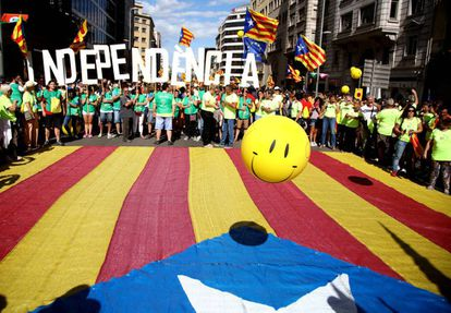 Pro-independence demonstrators during the celebrations for the 2017 Diada.
