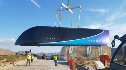 Prototype of the Hyperloop at a test site in Nevada.